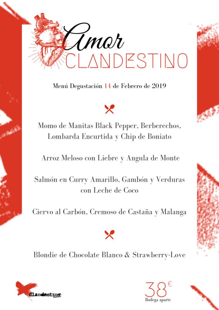 Menu San Valentin Clandestino Gastrobar Leon 2019